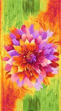 "23"" Fabric Panel - Timeless Treasures Dream Orange Pink Purple Flower"