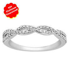 Stackable Platinum 950 Right-Hand Ring 0.25 ct Round Diamond Anniversary Band