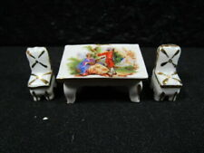 Beautiful Victorian Pattern - Limoges - Miniature Dining Room Table & Chairs