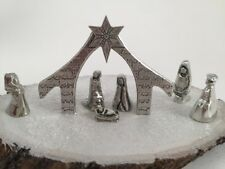 Crosby and Taylor Pewter Miniature Nativity Set 7 Piece Set Handcrafted New