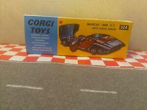 Corgi Toys 324 Marcos ,1800 GT EMPTY  Reproduction BOX ONLY NO CAR