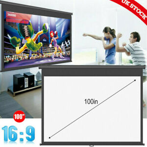 """100"""" Manual Pull-Down Projector Screen 16:9 White Matte Home Movie Cinema Outdoo"""