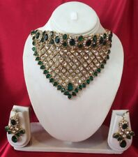 Bollywood Indian Bridal Necklace Earrings Fancy Jewellery Set Green White A1