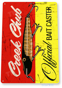 Creek Chub Fishing Sign, Bait, Lure, Tackle, Fish, Tin Sign B404
