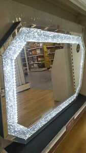 Emerald Cut LED Crystal Effect Mirror - Silver, Home decorative, Living room
