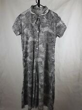 Vintage Woolworths dress 14 16 stretch 70s stretch black and white midi collar