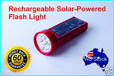 AU Solar Rechargeable LED Torch Flashlight Spotlight Search Working Light Lamp