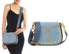 $450 Marc Jacobs Blue Denim & Leather Small Studded Nomad Crossbody Shoulder Bag