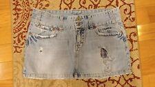 American Eagle 8 Distressed Jean Mini Skirt Denim Plaid Pockets