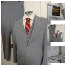 Vtg Mens Curlee 3Pc Suit 38R Vest Pants Blazer 2B 1V Polyester Grey Stripe 70S