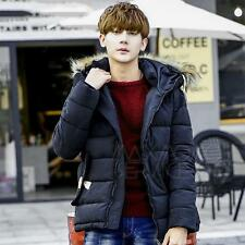Men navy Warm Down Jacket Fur Collar Thick Winter Hooded Coat Outwear Parka 3XL