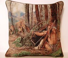 Turkey Hunt- Woodland Hunters w/ Gobbler, Hens By Jack Paluh Tapestry Pillow New
