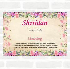 Sheridan Name Meaning Floral Certificate