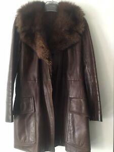 Wunderschöner Leder Mantel mit Echt Pelz Kragen Vintage Gr.38