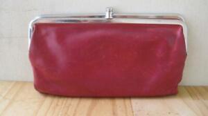 Hobo Lauren Brick Red Leather Clutch Wallet Organizer Double Framed