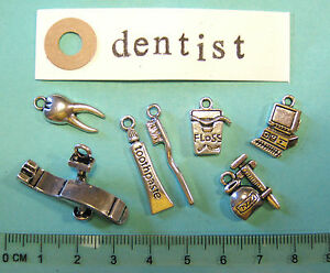 7 tibetan silver dentist charms dentist chair tooth brush floss injection paste