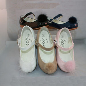 Older Girls Mary Jane Patent Shoe With Pom Poms, Buckle Side SALE