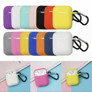 Silicone Protective Sleeve Case Cover Skin for Airpod 1 / 2 EarPhone With Clip