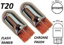 T20 ARGENTO CROMATO AUTO LAMPADINE SPIE Flash Giallo (580 W21W 7440)