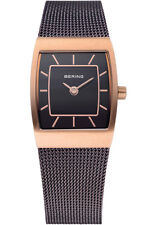 Bering Womens 11219-265 Classic Brown Dial Rose Gold Stainless Mesh Band Watch