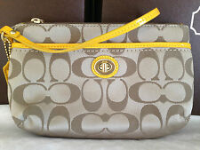 Coach Campbell Signature Med Wristlet F51109 Khaki/Sunflower NWT