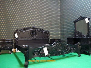 """USA King size 76""""x80""""  Gothic Black oriental French Rococo bed mahogany wood"""
