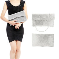 WOMENS GLITTER SILVER BRIDAL PARTY EVENING HANDBAG PROM CLUTCH ENVELOPE PURSE