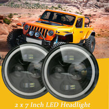 "1 Pair 7"" Round LED Halo Angel Eyes Headlights For Jeep Wrangler JK TJ 1997-2017"