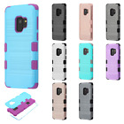 For Samsung Galaxy S9 / S9 PLUS Brushed Metal IMPACT TUFF HYBRID Case Skin Cover