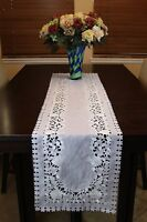 Organza Embroidered Placemat Runner White Silver Wedding Party Church Passover