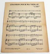 Partition vintage sheet music GUY BEART : Chanson Pour Ma Vieille * 50's