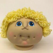 MN Thomas Yarn Hair Doll Head Boy Yellow Loop Short Hair Blue Eyes 4in Vtg 1984