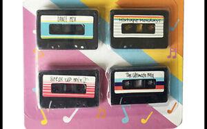 Fun Multi-colour Cassette Tape magnets set of 4 brand new retro