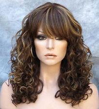 Adorable Curly HEAT SAFE WIG w. Bangs Light Brown Blonde Mix JSMG 8-27=613