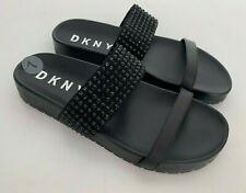 NEW! DONNA KARAN DKNY CECILLE CRYSTAL DOUBLE STRAP BLACK SLIDES SANDALS 7 37.5