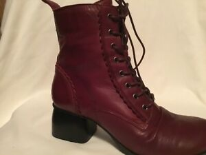 Miz Mooz Leather Lace-Up Ankle Boots - Olympia Bordeaux 39 (8.5-9)