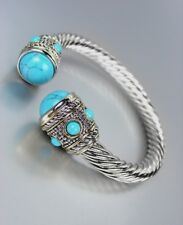 GORGEOUS Chunky BALINESE Silver Dots Cable Turquoise Stone Tips Cuff Bracelet