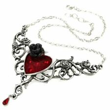Alchemy Gothic The Blood Rose Heart Necklace Pendant - Crystal Pewter England