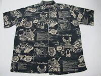 Nice Harley-Davidson Button Down Men's Black Print Large Shirt
