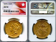 1875-S $20 Gold Coin NGC AU50
