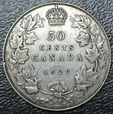 OLD CANADIAN COIN 1929 - 50 CENTS - .800 SILVER - George V - Nice