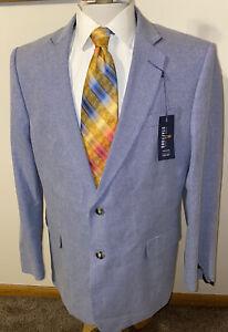 NEW Stafford Mens Sz 46R Blue Basket Weave Cotton Sport Coat Blazer Jacket NWT