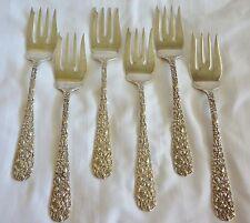 Sterling Silver Stieff Rose Salad Dessert Forks Set of 6 Repousse Floral 1892