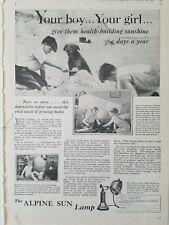 1929 vintage Alpine sun lamp your boy girl dog Sandcastle Beach ad