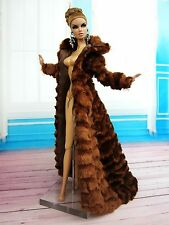 Eaki Brown Fur Coat Dress Outfit Gown Silkstone Barbie Fashion Royalty Candi FR2