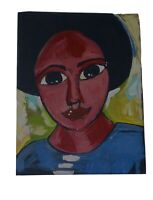 Black Abstract African American Folk Art Painting Original Outsider Art
