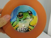 Beautiful Clay Art Pottery of a Frog Portriat in a Bowl Signed By The Artist