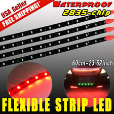 4 x Super RED Waterproof Flexible Strip 60cm Car Motorcycle 2835 LED Light DC12V
