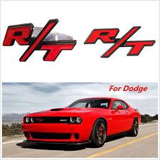 Red RT R/T Logo Head Front Grille Badge Clip Badge 3D Metal Trim Screws Kit