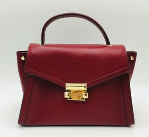 MICHAEL Michael Kors Whitney MD Polished Leather Top Handle Satchel Maroon/Gold